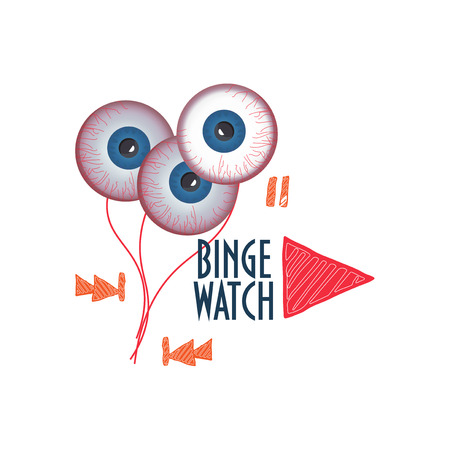 Vector illustration about Binge Watching or viewing multiple episodes of a tv show in rapid succession.  Doodle styled player buttons, big play button, eyeballs and text Binge Watch.