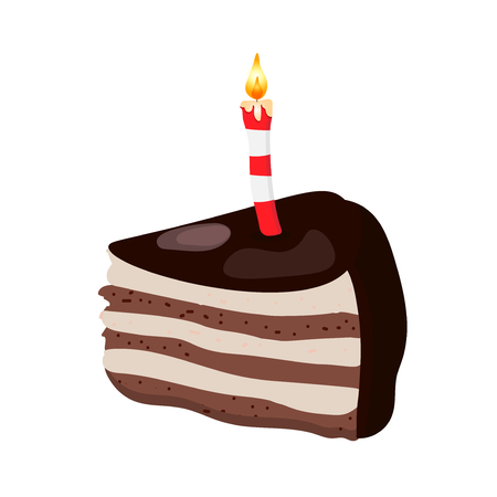 Vector illustration made in a flat cartoon style of a dark chocolate birthday cake with a candle. A slice or a piece of a brown cake for a birhday party isolated. Reklamní fotografie
