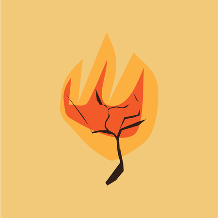Minimalistic vector illustration of a Bible scene: burning bush. Scene from the Book of Exodus about Moses and God is great as illustration for sermon, oration, lecture, or christian talk.
