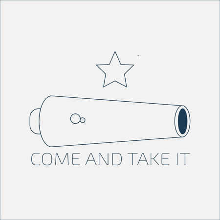 Vector illustration for the day of Battle of Gonzales, the first military engagement of the Texas Revolution. Come and Take it flag variation. Come and take it is a historic slogan from ancient times. Çizim