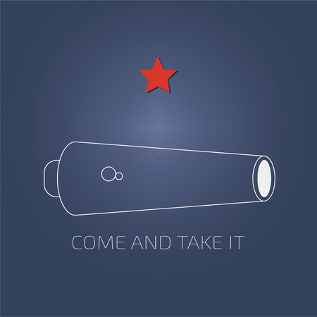 Vector illustration for the day of Battle of Gonzales, the first military engagement of the Texas Revolution. Come and Take it flag variation. Come and take it is a historic slogan from ancient times. Illustration