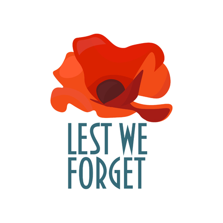 Vector illustration for Remembrance Day also known as Poppy Day or Armistice day: Minimalistic poppy flower and text Lest We Forget. Vectores