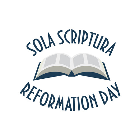 Vector Illustration for Protestant Lutheran Church Reformation Day. Open Bible, theological doctrine Sola Scriptura and text: Reformation Day. Stock fotó