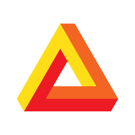 Vector optical perspective illusion illustration: Penrose triangle, well known as impossible figure or infinite shape. Impossible triangle icon. Stock Photo