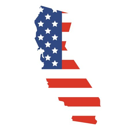 Vector illustration: California map. State of California map silhouette with the flag of United States of America. Фото со стока