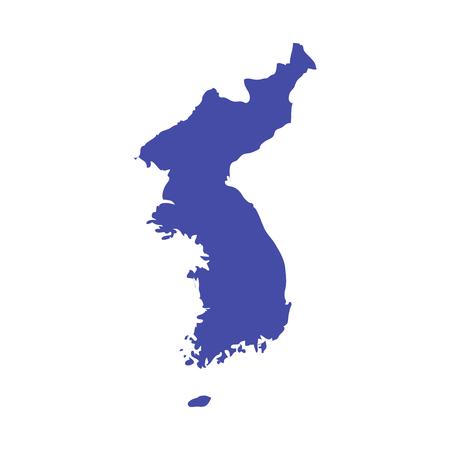 Carte vectorielle de la péninsule coréenne. Contour de carte de Corée unie.