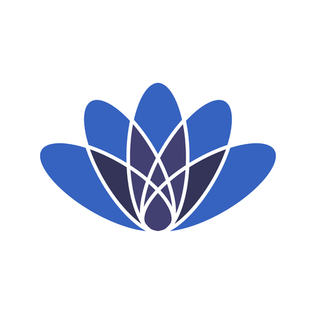 Vector minimal illustration: Lotus flower or Water Lily isolated. Lotus silhouette as a symbol of harmony.