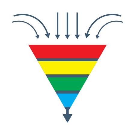Vector isolated diagram: a conversion lead funnel or sales generation graphic. Could be used as Prospects funnel template, Merchandising performance or customer traffic tunnel. 일러스트