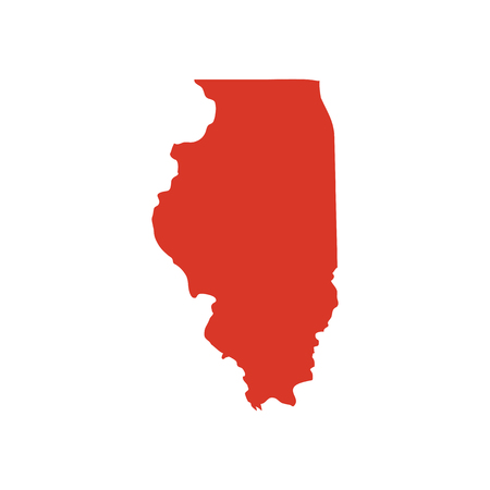 State of Illinois vector red map silhouette. Il state shape icon. Outline contour map of State of Illinois.