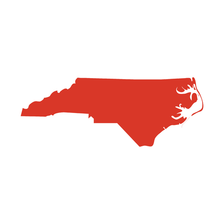 State of North Carolina vector red map silhouette. NC state shape icon. Outline contour map of North Carolina. Illustration