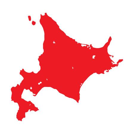 Hokkaido vector illustration. Hokkaido island and prefecture map contour outline.