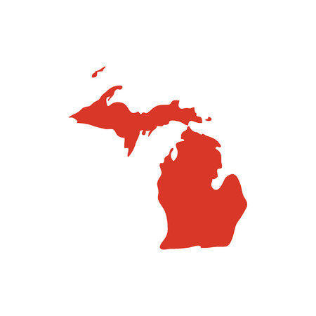 State of Michigan vector red map silhouette. MI state shape icon. Outline contour map of Michigan. Illustration