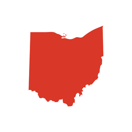State of Ohio vector red map silhouette. OH state shape icon. Outline contour map of Ohio. 스톡 콘텐츠