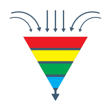 Vector isolated diagram: A conversion lead funnel or sales generation graphic. Could be used as Prospects funnel template. Merchandising performance or customer traffic tunnel.