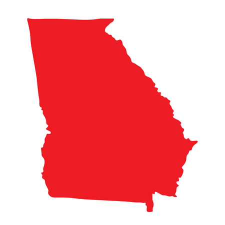 Georgia vector map shape icon. State of Georgia map contour outline silhouette. Stock Photo