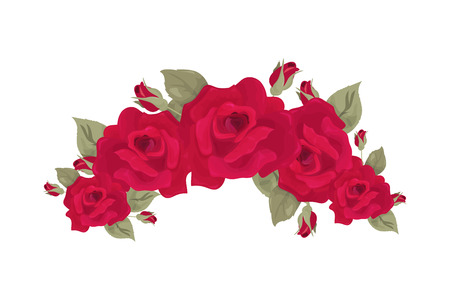 Vintage rose wreath vector illustration. Red roses wreath isolated with blossoms and leaves.