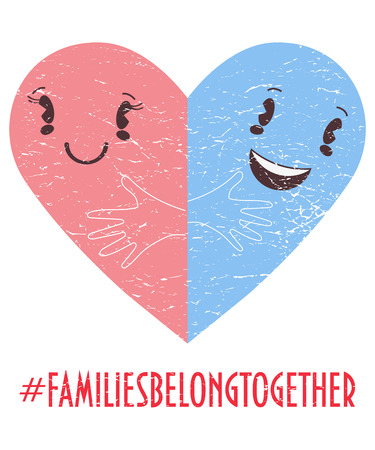 Family belong together trendy vector illustration: two halves of Heart symbol as metaphor of family unity. Stop separating families poster or banner. Hashtag Families belong together.