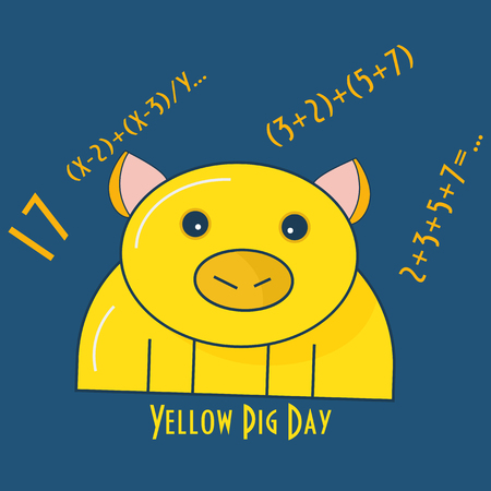 Yellow Pig Day Vector Illustration. Yellow Pig Silhouette and Prime Number 17, and some equations. 스톡 콘텐츠