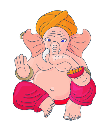Vector illustration for Ganesh Chaturthi Festivity: Lord Ganesha also known as Ganapati, Vinayaka, Pillaiyar and Binayak. Lord Ganapati isolated. Çizim