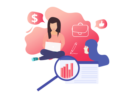 Modern vector illustration concept for landing page website or mobile site version: Female startup girl power concept. Women business coworking startup report presentation. Female business template Çizim