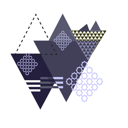 Vector abstract composition with triangles and ornate elements. Triangular monochrome vintage abstract style artwork with street art triangles and east ornate elements.