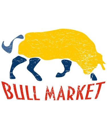 Bull Market Distressed Vector Illustration. Grungy Bull and text: Bull Market 일러스트