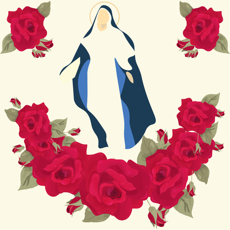 Vector Illustration for Fiesta de Santa Rosa: Saint Rose of Lima with roses.