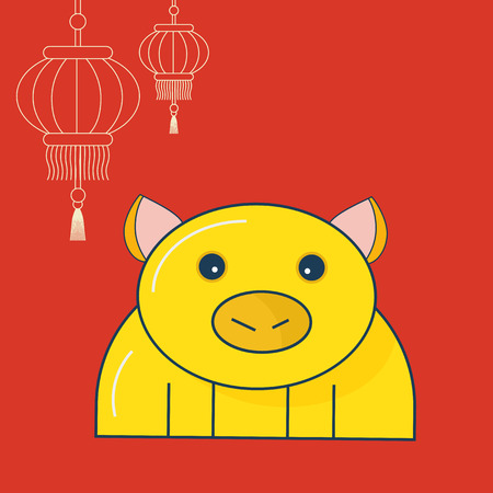 Yellow Pig Lunar New Year Vector Illustration: cute linear Yellow Pig or piglet and Asian New Year Lanterns.