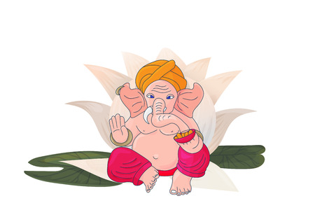 Lord Ganesha sitting on a Lotus Flower isolated. Ganapati God vector illustration for Ganesh Chaturthi festivity.