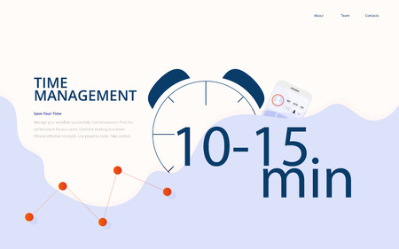 Vector flat illustration or template: Time Management business productivity concept. 스톡 콘텐츠