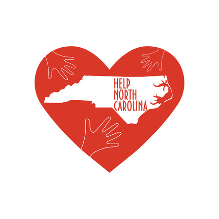 Vector Illustration: helping hands, heart, North Carolina map. Support for volunteer, charity or relief work after Hurricane Florence, floods, landfalls. Text: Help North Carolina.
