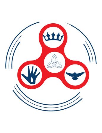 Vector illustration for christian community: Holy Trinity fidget spinner. Sun, Father and Holy Spirit God symbols. Church Sermon icon. Spinner Fidget as Trinity God symbol.