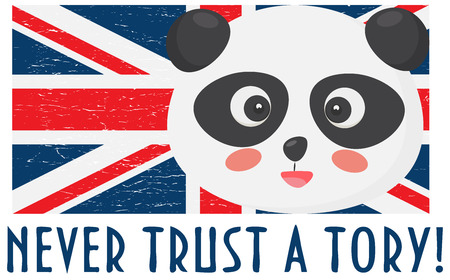 Anti Tory illustration: Panda face, Uninon Jack flag and text: Never trust a Tory. Could be used as Anti Brexit deal icon. Stok Fotoğraf