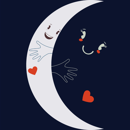 Vector cartoon flat illustration: Crescent moon embracing night sky. Love or friendship together romantic concept or friends sympathy metaphor. 스톡 콘텐츠