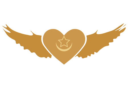 Vector Illustration for Sufi Muslim community: Winged Heart symbol of Sufism. Gold Western Sufi Order Winged Heart isolated.