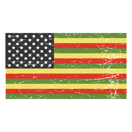 Vector distressed Illustration for African American community: variant of Afro-American flag isolated.