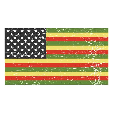 Vektor beunruhigt Illustration für afroamerikanische Gemeinschaft: Variante der afroamerikanischen Flagge isoliert.