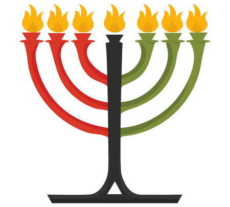 Vector illustration for African American Community: Kwanzaa Kinara candles isolated. Kwanzaa symbol icon made in flat cartoon style. 일러스트