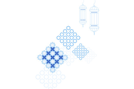 Eid al-Fitr greeting card template. Islamic crescent moon, ramadan lamp or lanterns and muslim pattern element.