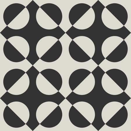 Monochrome geometric vector seamless pattern. Modern abstract monochrome pattern for textile or procelain tile design.