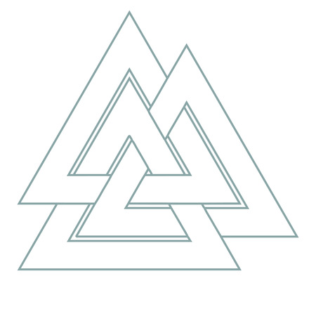 Vector triangle illustration: Valknut, the symbol of Germanic paganism, the sign of god Odin, runic knot or Hrungnir heart. Valknut rune as the symbol of the Germanic peoples.