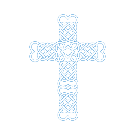 Vector illustration: Celtic knot cross with heart shapes. Gaelic or Celtic medieval style knotwork imitation of Holy Cross isolated.