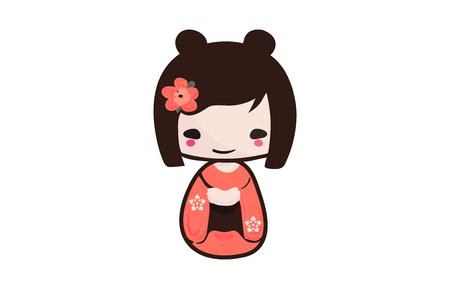 Traditional Japanese Kokeshi doll isolated vector illustration. Kawaii Kokeshi Doll girl souvenir with cute Kimono on. 스톡 콘텐츠