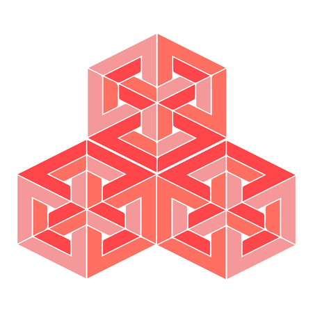 Impossible or undecidable object vector illustration. Optical illusion figure isolated. Impossible perspectives example.