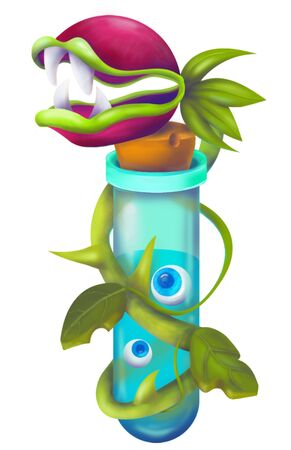 Fantasy weird monster plant carnivorous flower. Flytrap or evil fly trap dangerous monster plant isolated in a comic style.