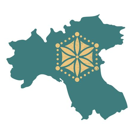 Padania Map Silhouette with a variant of the Sun of the Alps isolated vector illustration. Padania map icon. 스톡 콘텐츠