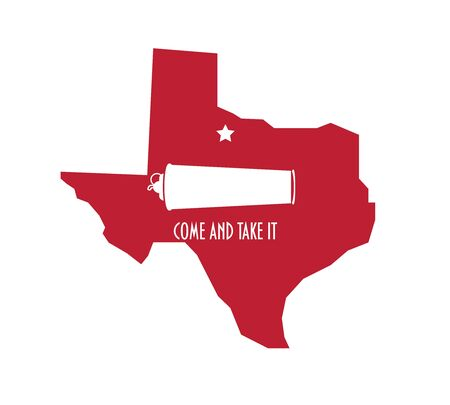 Distressed Texas map vector illustration for Battle of Gonzales during Texas Revolution anniversary. Come and Take It flag grungy icon.