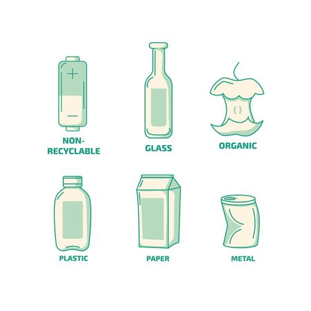 Set of Waste garbage trash types icons. Organic, non recyclable, plastic, paper waste icons. Stok Fotoğraf