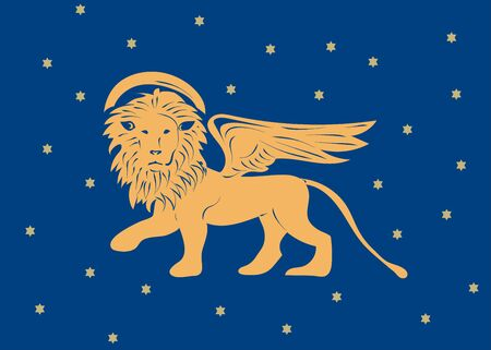 Winged Venetian Lion of Saint Mark or San Marco as a symbol of Venice Republic and region of Veneto vector illustration. The Lion of Venice with stars. Vettoriali