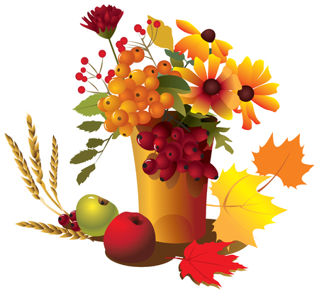 Autumn bouquet with flowers, apples on an white background.